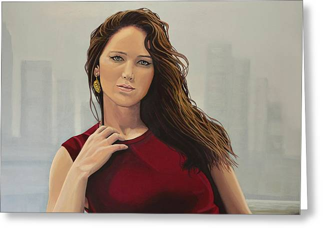 Jennifer Lawrence Painting Greeting Card by Paul Meijering