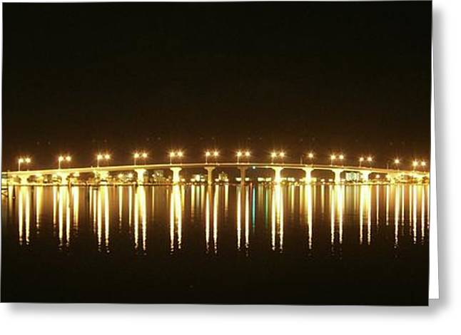 Jensen Causeway At Night Greeting Card by Lynda Dawson-Youngclaus