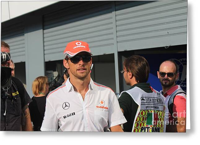 Jenson Button Greeting Card by David Grant