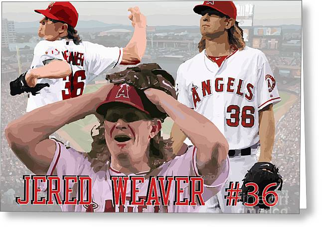 Jered Weaver Greeting Card by Israel Torres