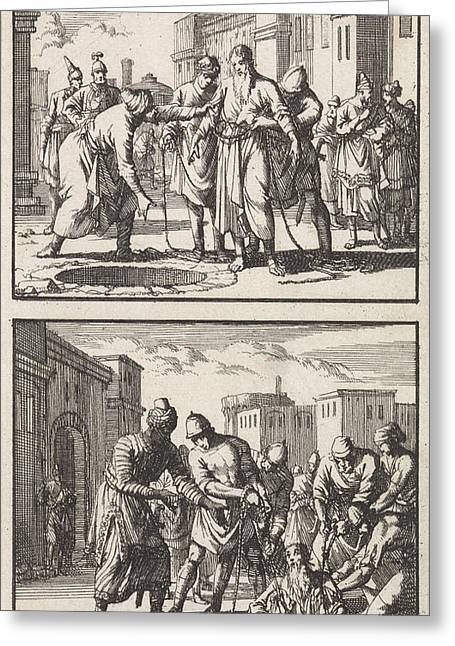 Jeremiah Thrown Into A Pit, Jeremiah Pulled Out Of The Pit Greeting Card by Jan Luyken And Barent Visscher And Andries Van Damme