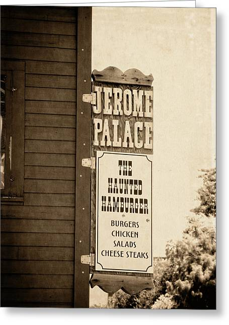Jerome Palace - The Haunted Hamburger Greeting Card by Saija  Lehtonen