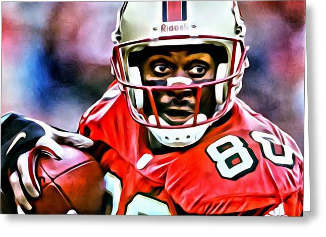 Jerry Rice Greeting Card by Florian Rodarte