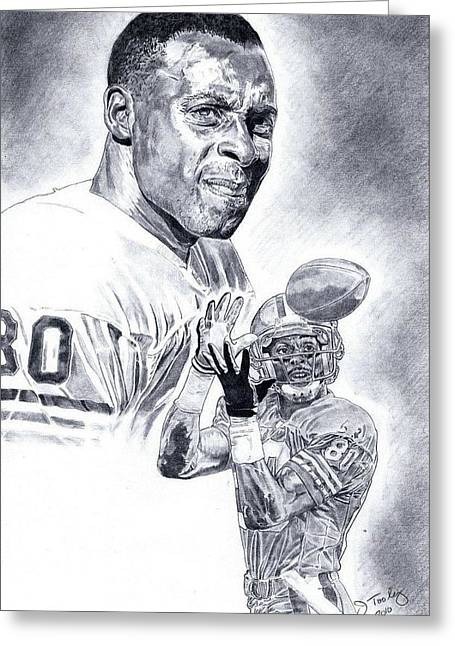 Jerry Rice Greeting Card by Jonathan Tooley