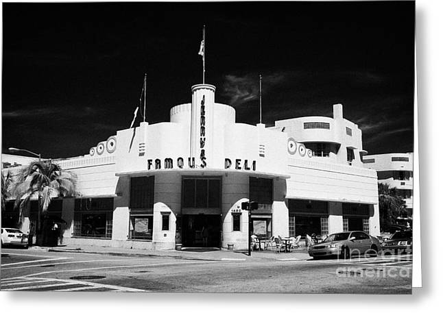 Jerrys Famous Deli Collins Ave Art Deco District Miami South Beach Florida Usa Greeting Card by Joe Fox