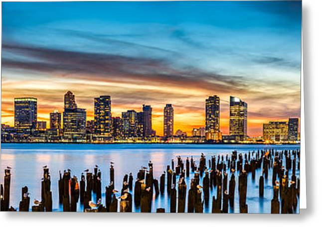 Jersey City Panorama At Sunset Greeting Card by Mihai Andritoiu