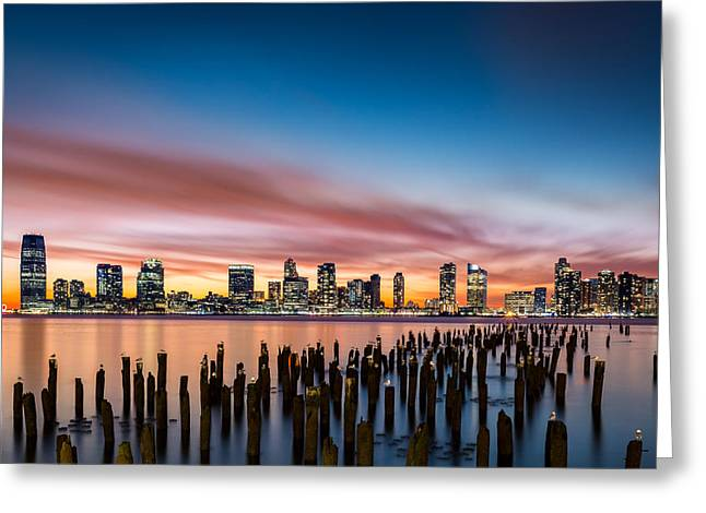 Jersey City Skyline At Sunset Greeting Card