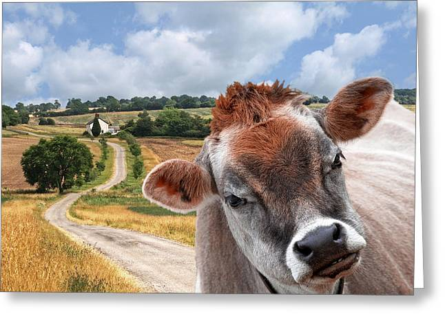 Jersey Cow - Welcome To The Funny Farm Greeting Card by Gill Billington