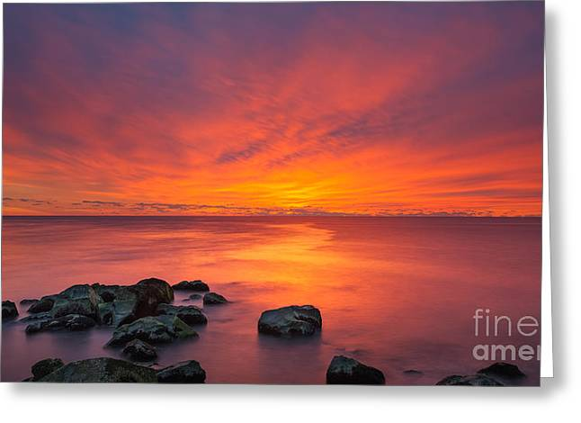 Jersey Shores Fire In The Sky 16x9 Greeting Card by Michael Ver Sprill