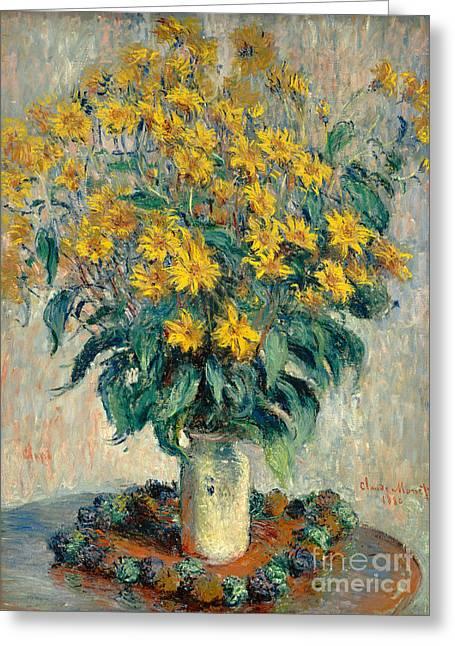 Jerusalem Artichoke Flowers Greeting Card by Claude Monet
