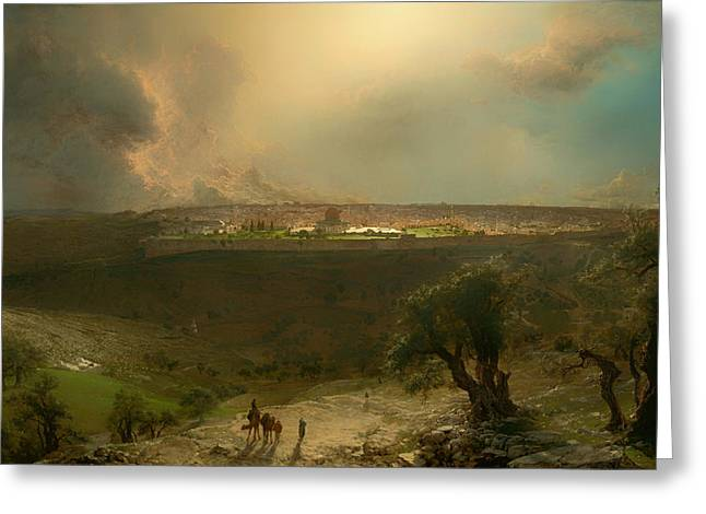 Jerusalem From The Mount Of Olives Greeting Card by Mountain Dreams