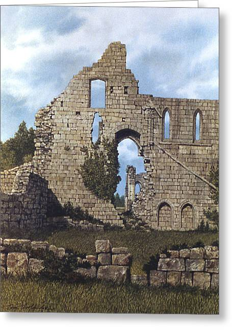 Greeting Card featuring the painting Jervaulx Abbey by Tom Wooldridge
