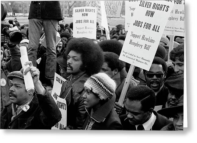 Jesse Jackson Surrounded By Marchers Greeting Card by Stocktrek Images