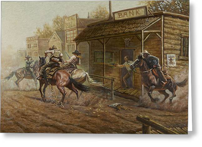 Jesse James Bank Robbery Greeting Card by Gregory Perillo