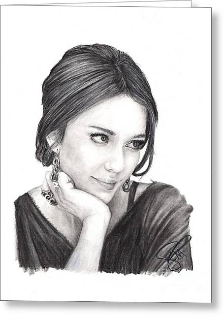 Jessica Alba Greeting Card by Rosalinda Markle