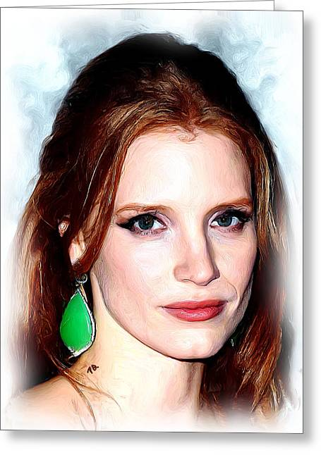 Jessica Chastain Greeting Card by Paul Quarry