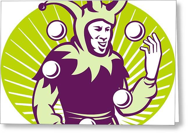 Jester Juggler Juggling Balls Retro Greeting Card by Aloysius Patrimonio