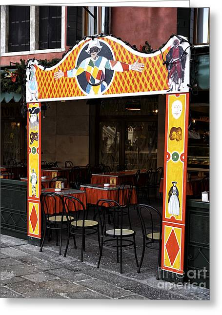 Jester Restaurant In Venice Greeting Card by John Rizzuto