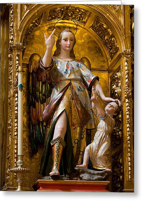Jesus And Angel Sculptures In Mezquita Greeting Card by Artur Bogacki