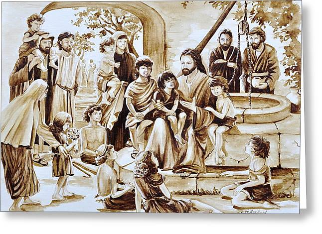 Jesus And Children Greeting Card