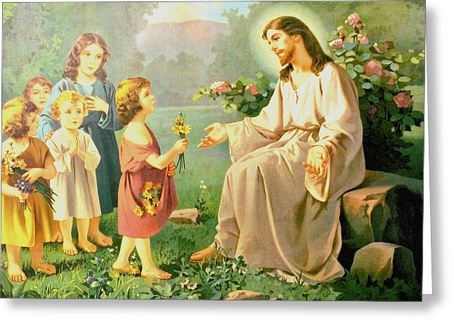 Jesus And The Little Children Greeting Card