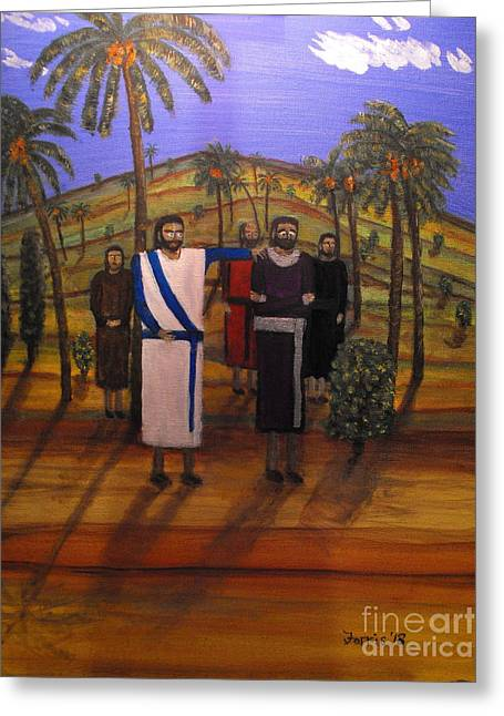 Jesus And The Rich Young Ruler Greeting Card by Larry Farris