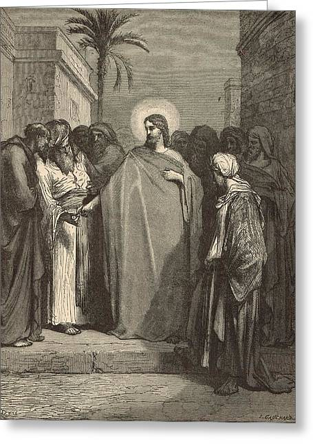 Jesus And The Tribute Money Greeting Card by Antique Engravings