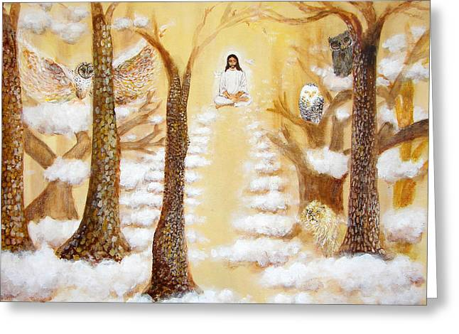 Jesus Art - The Christ Childs Asleep Greeting Card by Ashleigh Dyan Bayer