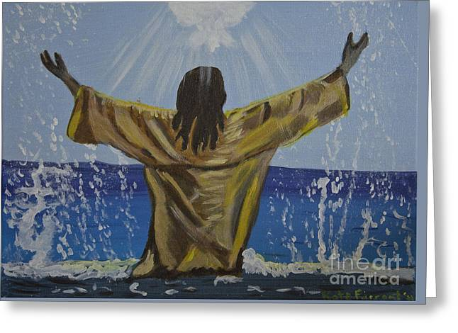 Jesus Baptism Greeting Card by Kate Farrant
