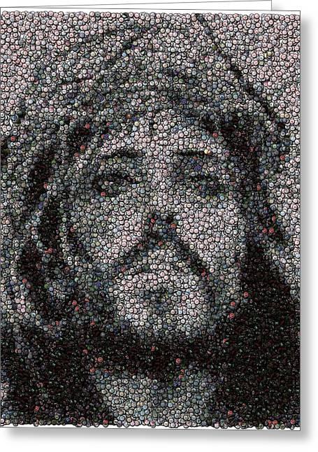 Jesus Bottle Cap Mosaic Greeting Card by Paul Van Scott