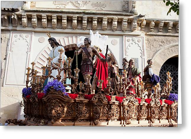Jesus Christ And Roman Soldiers On Procession Greeting Card