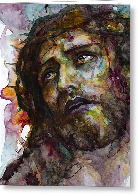 Greeting Card featuring the painting Jesus Christ by Laur Iduc