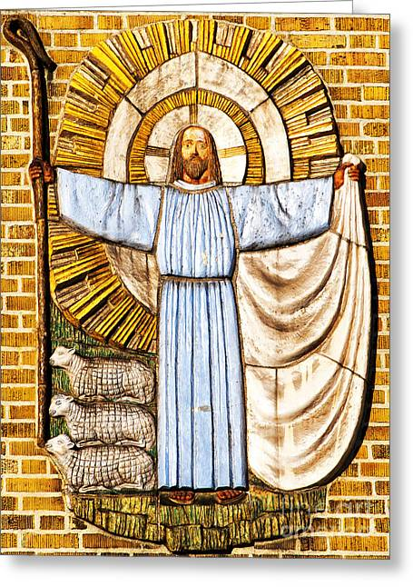 Jesus Christ The Shepherd Greeting Card by Antony McAulay