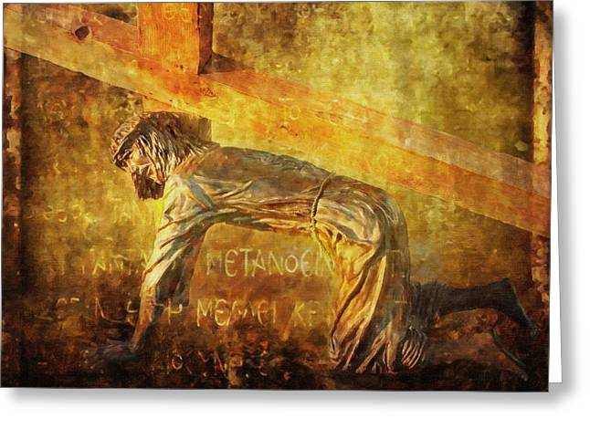 Jesus Falls Again Via Dolorosa 7 Greeting Card by Lianne Schneider