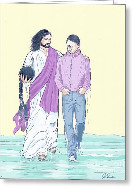 Jesus Frees Greeting Card by Cindy Ouellette