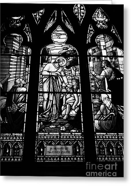 jesus healing the stick stained glass window in holy rosary cathedral Vancouver BC Canada Greeting Card
