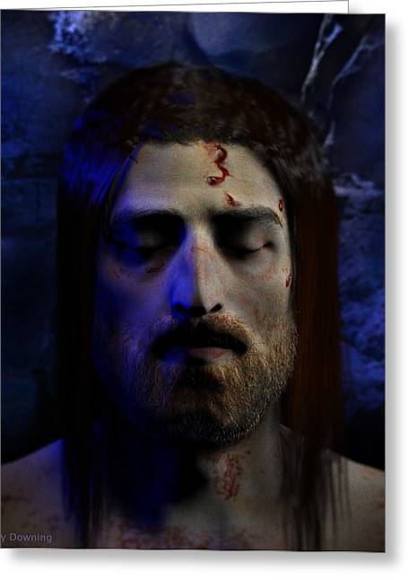 Jesus In Death Greeting Card by Ray Downing