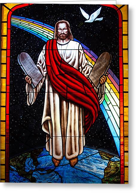 Greeting Card featuring the photograph Jesus In Stain Glass by Randy Sylvia
