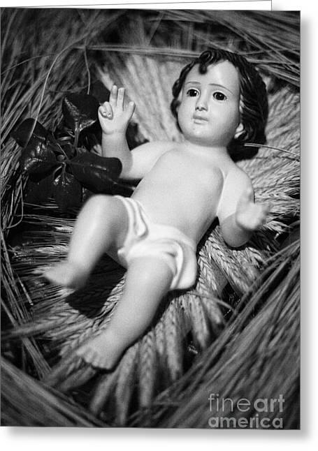 Jesus In The Crib Greeting Card