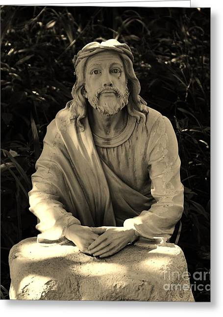 Jesus In The Garden Greeting Card by Bob Sample