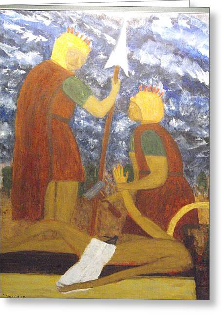 Jesus Is Nailed To The Cross Greeting Card by Larry Farris