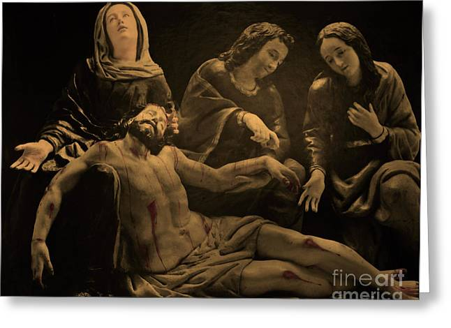 Jesus Is Removed From The Cross Greeting Card by Al Bourassa