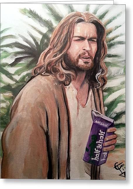 Jesus Lebowski Greeting Card by Tom Carlton
