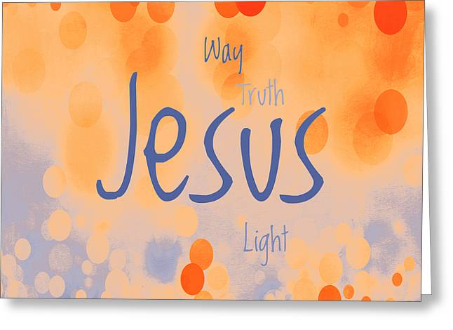 Jesus Light 2 Greeting Card by Angelina Vick