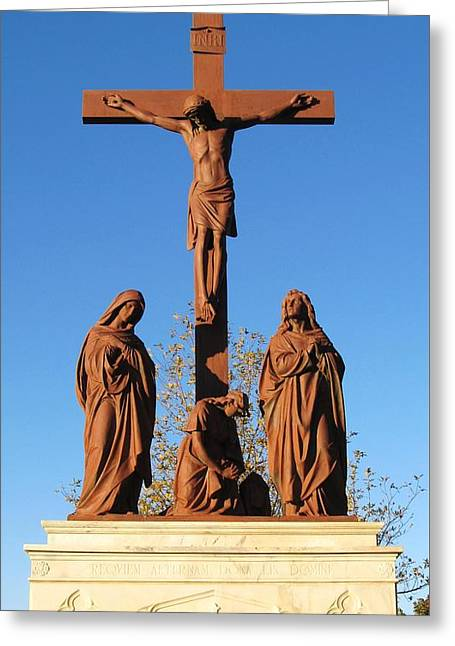 Jesus On The Cross Greeting Card by Donna Wilson