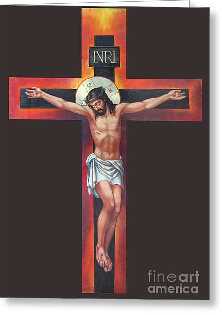 Jesus On The Cross Greeting Card by Zorina Baldescu