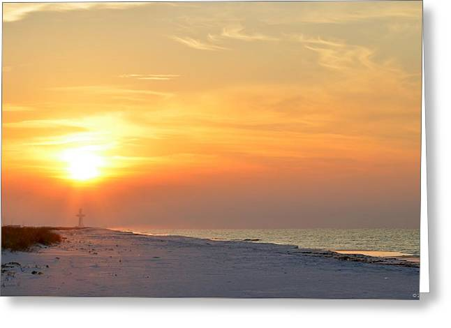 Jesus Rising On Easter Morning On Navarre Beach Greeting Card