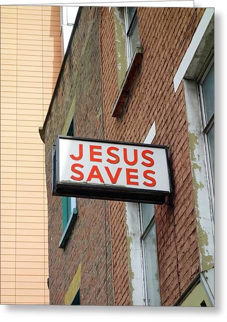 Jesus Saves Greeting Card by Cordelia Molloy