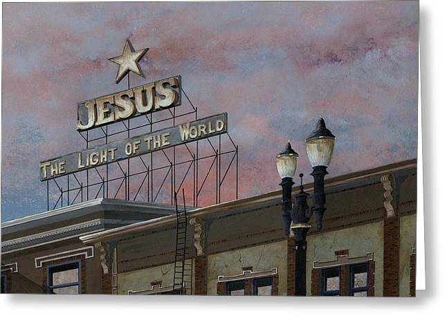 Jesus The Light Of The Word Greeting Card by John Wyckoff