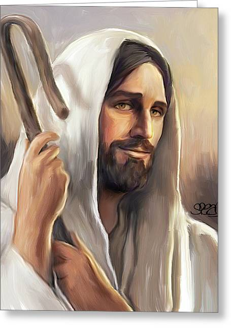Jesus The Shepherd Greeting Card by Mark Spears